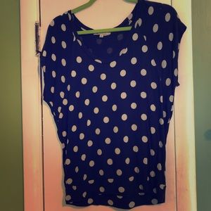 Gap Navy and White Polkadot Slouchy Cowl Shirt